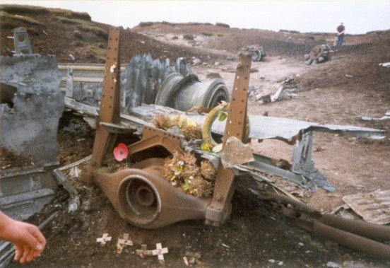 Undercarriage and other wreckage at the crash site of RB-29A Superfortress 44-61999 at Higher Shelf Stones, Bleaklow, Glossop