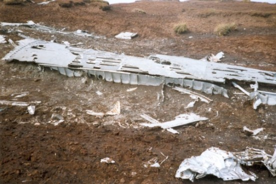 Remains of a wing at the crash site of Boeing RB-29A 44-61999 Superfortress 44-61999 at Higher Shelf Stones, Bleaklow, Derbyshire
