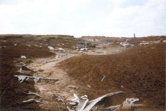 Aircraft wreckage scattered about the crash site of Boeing RB-29A Superfortress 44-61999 at Higher Shelf Stones, Bleaklow