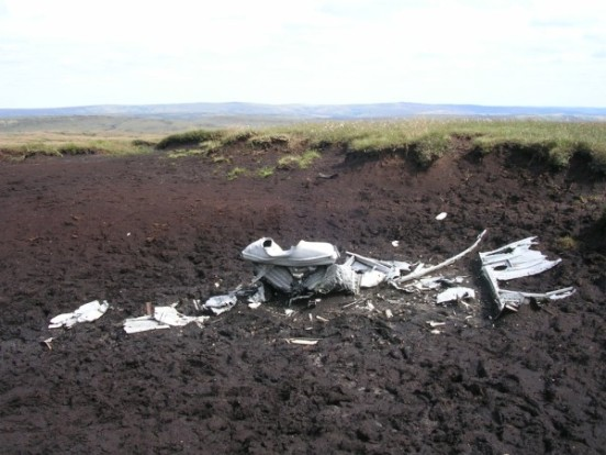 Remains of an oil cooler at the crash site of Boeing RB-29A Superfortress 44-61999 at Higher Shelf Stones, Bleaklow