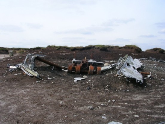 Undercarriage at the crash site of RB-29A Superfortress 44-61999 at Higher Shelf Stones, Bleaklow