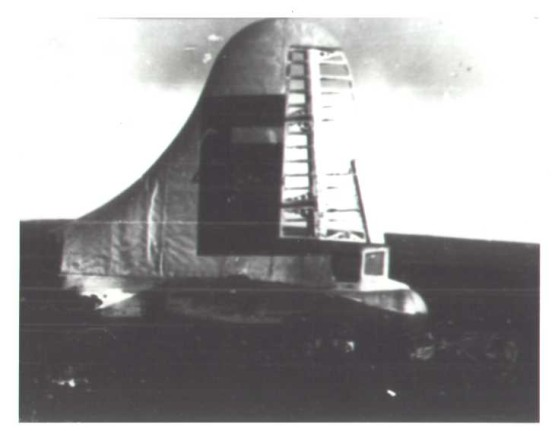 Photograph from the aircraft accident report of the tail of Boeing RB-29A 44-61999, Higher Shelf Stones, Bleaklow