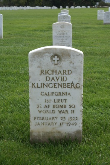 Grave of 1st Lieutenant Richard David Klingenberg at Golden Gate National Cemetery, San Francisco, California