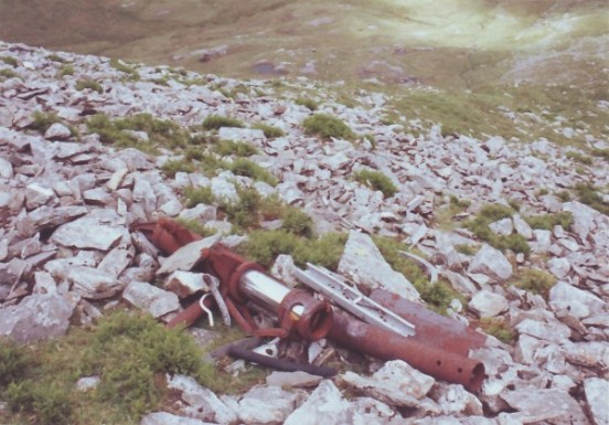 Wreckage near the crash site of B-26 Marauder 44-68072 in Cwm Cywion on Y Garn