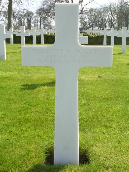Grave of Corporal Rudolph M. Aguirre at Cambridge American Military Cemetery