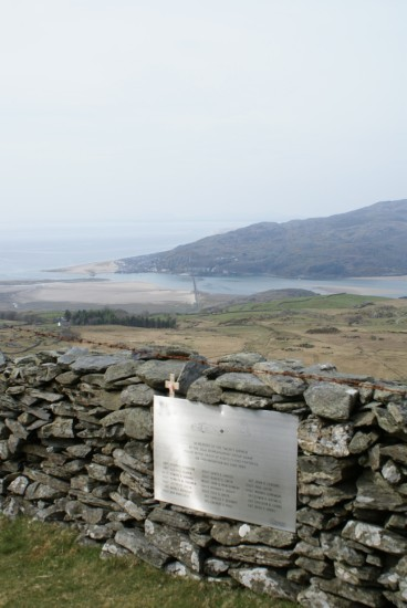 View towards Barmouth from the crash site memorial for B-17 44-8639