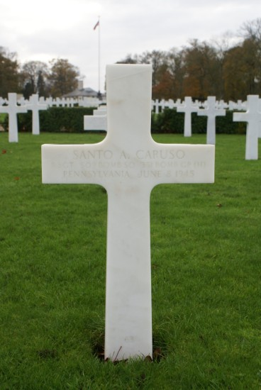 Grave of Staff Sergeant Santo A. Caruso at Cambridge American Cemetery