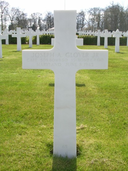 Grave of Captain Joseph A. Glover at Cambridge American Cemetery