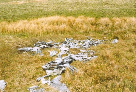 Wreckage below the crash site of B-17G 44-8683 on Greath Whernside, North Yorkshire.