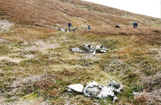 Crash site of Douglas C-54A 45-543 on Stake House Fell, Garstang, Lancashire