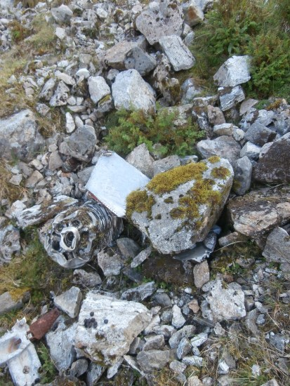 Engine parts at the crash site of McDonnell F-101C 56-0013 at the crash site on Maol Odhar, Strontian