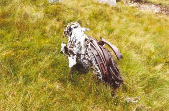 Engine wreckage at the crash site of McDonnell F-101C 56-0013 on Maol Odhar, Strontian