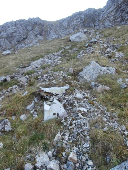 Wreckage trail at the crash site of McDonnell F-101C 56-0013 at the crash site on Maol Odhar, Strontian