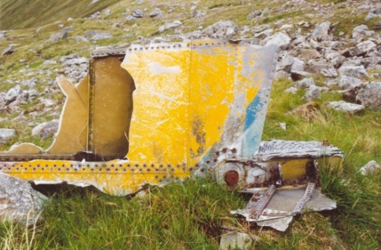Part of the tail fin of McDonnell F-101C 56-0013 at the crash site on Maol Odhar, Strontian