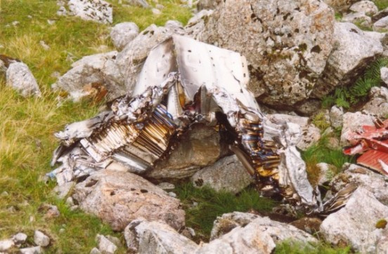 Wreckage at the crash site of McDonnell F-101C 56-0013 at the crash site on Maol Odhar, Strontian