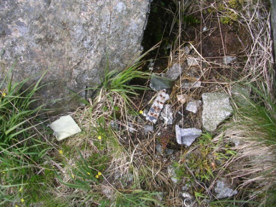 Small fragments of wreckage at the crash site of F-111E 68-0003 on Craignaw, Glen Trool