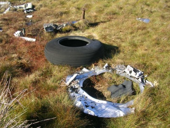 Main wheel tyre and engine firewall at the crash site of Douglas B-26B 8811-B on Distinkhorn, South Lanarkshire