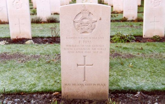 Grave of Flight Sergeant Pess at Chester Blacon Cemetery