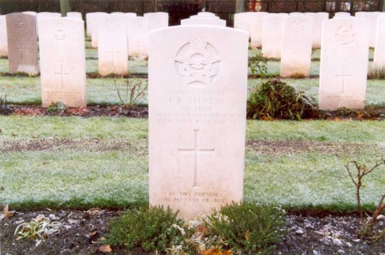 Grave of Flying Officer Stevens at Chester Blacon Cemetery