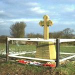 Memorial at the crash site of Armstrong Whitworth Whitley BD230 on farm land at Bullhurst Hill, Weston Underwood, Derby