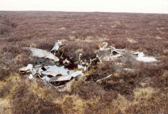 Wreckage at the crash site of Halifax DG404 on Brown Hill Plain, Heathfield Moor, Pateley Bridge, Yorkshire