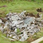 Wreckage at the crash site of Stirling EE975 on Old Cote Moor, Littondale, Yorkshire