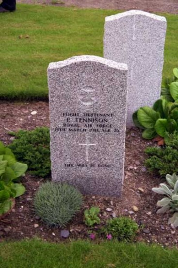 Grave of Flight Lieutenant Peter Tennison at Kinloss Abbey