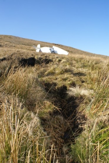 Wreckage of Cessna 152 G-BJKY on Ingleborough, Yorkshire, impact point - Crash Site