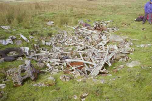 Wreckage at the crash site of Wellington HE226, Bycliffe, Conistone, Wharfedale, Yorkshire