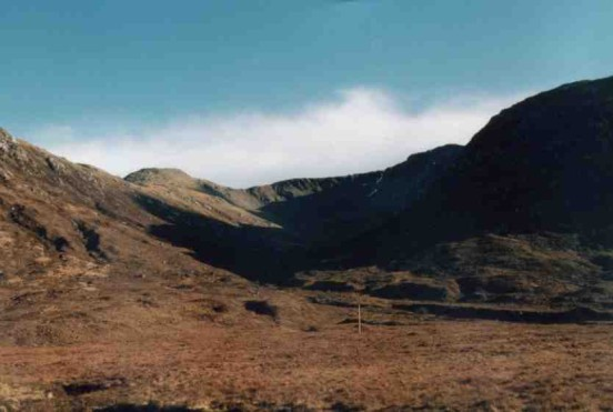 View from the A861 in Glen Tarbert towards the crash site of McDonnell F-101C 56-0013 on Maol Odhar