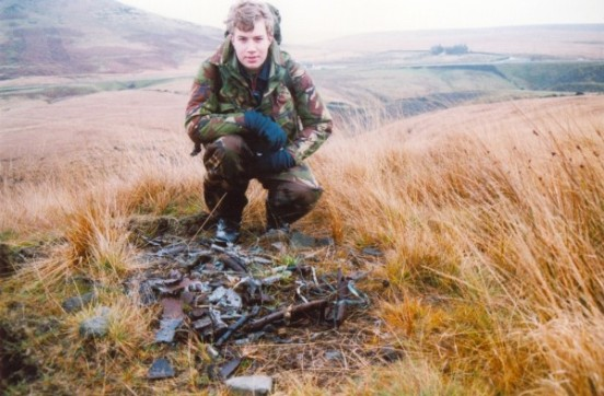 Alan with the remains of Fariey Barracuda MD963 above Redbrook Clough, Marsden, West Yorkshire