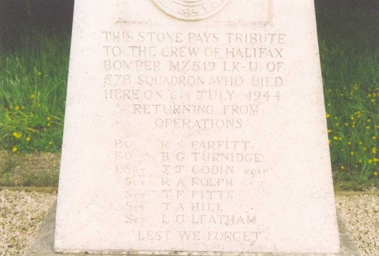 Inscription on the memorial stone near the crash site of Handley Page Halifax Mk.III MZ519 at Farnsfield, Nottinghamshire