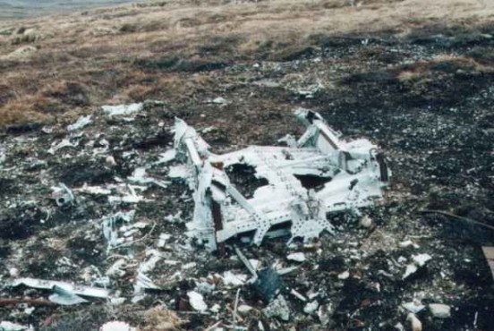Wreckage at crash site of Armstrong Whitworth Whitley N1498 on Carn a Choire Mhoir, near Tomatin in April 2002
