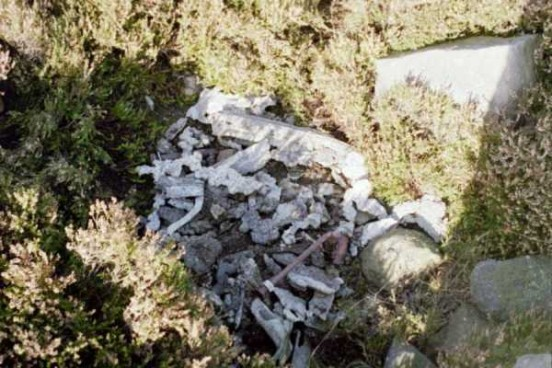 Wreckage at the crash site of Avro Lancaster RA571 on Beamsley Beacon, Yorkshire