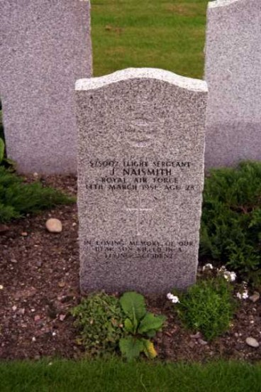Grave of Flight Sergeant James Naismith at Kinloss Abbey