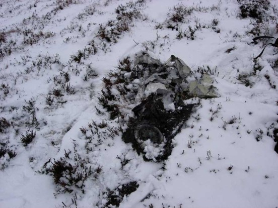 Wreckage at the crash site of Hawker Sea Hawk WV845 on Creag an Lochain Deirg near Brora