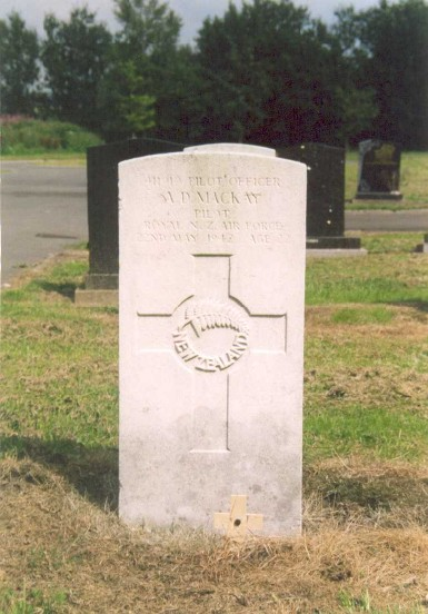 Grave of Pilot Officer Andrew Donald Mckay at Buxton Cemetery, Derbyshire