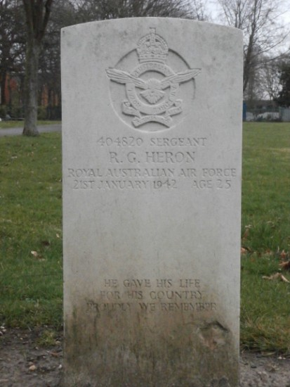 Grave of Sergeant Royal George Heron, Pilot, at Manchester Southern Cemetery