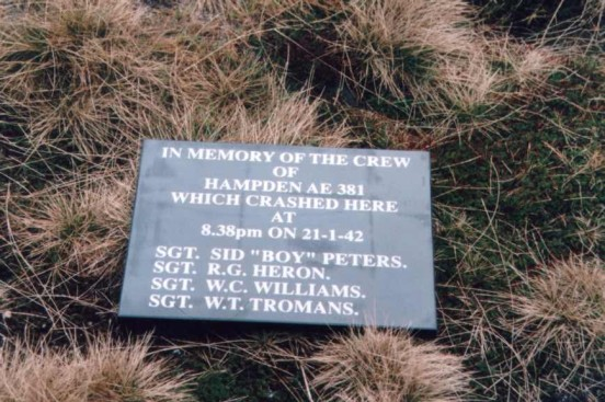 Memorial plaque at the crash site of Handley Page Hampden AE381 at Cluther Rocks, Kinder Scout, Derbyshire