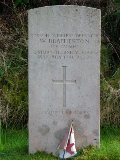 Grave of Wilfred Bratherton at Kilkerran Cemetery, Campbeltown