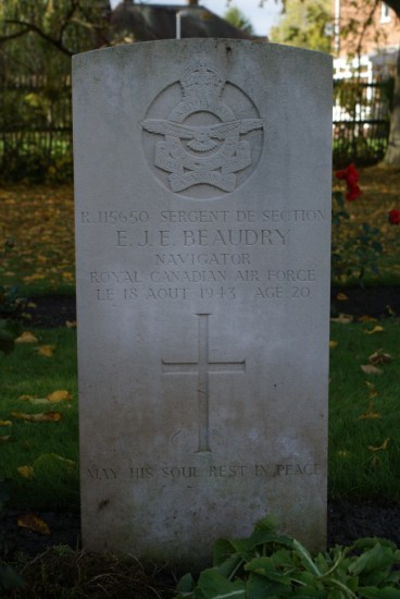 Grave of Flight Sergeant Eloi Joseph Emile Beaudry, killed in the crash of Lockheed Ventura AE688 on Carnedd Dafydd, at Chester Blacon Cemetery