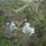 Crash site of North American Mustang AG586 on Fountains Earth Moor, Pateley Bridge, Yorkshire