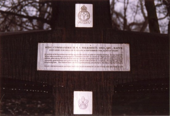 Memorial at the crash site of Martin Baltimore AG689 at Tedsmore Hall, Shropshire