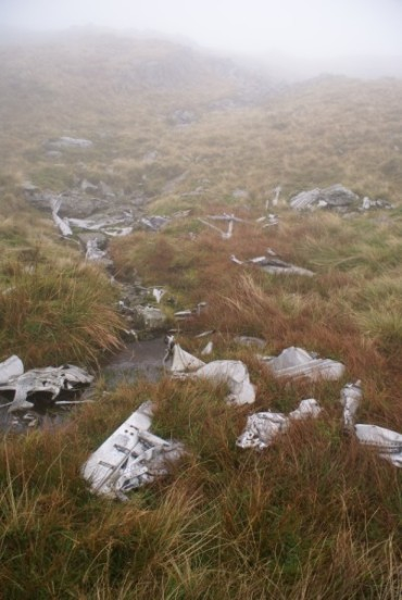Aircraft wreckage in a small stream on Drigmorn Hill near Newton Stewart