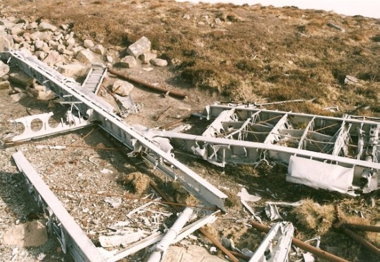 Wreckage at the crash site of Fairey Albacore BF592 on Mel Fae, Rackwick, Isle of Hoy