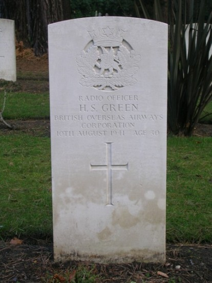 Grave of Radio Officer Henry Green BOAC at Brookwood Military Cemetery