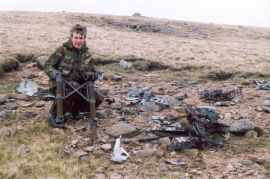 Alan with wreckage at the crash site of Airspeed Oxford Mk.I AT486 on Caw Fell