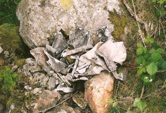 Wreckage from the aircraft on the Wastwater Screes below Great Gully
