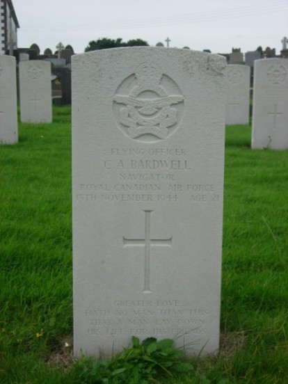 Grave of Flying Officer Charles Alfred Bardwell at Jurby churchyard