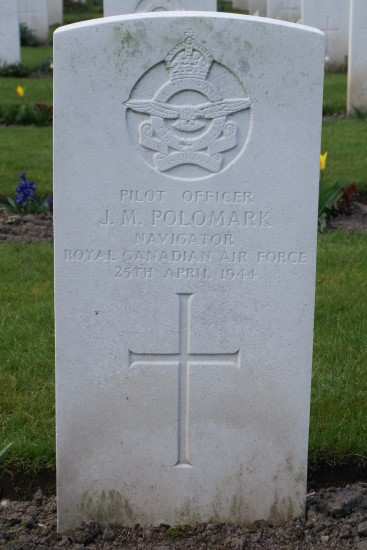 Grave of Pilot Officer John Marshall Polomark RCAF at Chester (Blacon) Cemetery